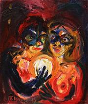 Sale 8558 - Lot 516 - Wendy Sharpe (1960 - ) - Maryanne and Lucy, 1990 14 x 35.5cm