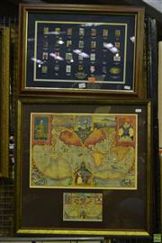 Sale 8563T - Lot 2220 - Olympic Games Poster Pin Set 1896 - 2000 & A Framed Decorative C16th Map