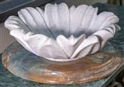 Sale 8568A - Lot 180 - An Indian carved marble lotus bowl, D 25cm, and onyx disc, D 27cm