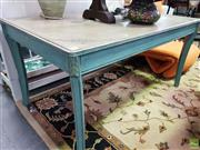 Sale 8589 - Lot 1045 - Painted Timber Dining Table with Happy Home Recipe on Top