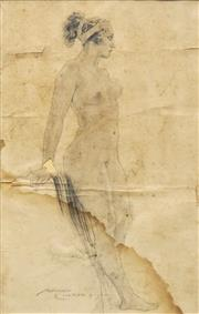 Sale 8692 - Lot 514 - Norman Lindsay (1879 - 1969) - Study for Figure in In Vain the Christian 34 x 22.5cm