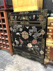 Sale 8854 - Lot 1013 - Inlayed Stone Chest With Two Doors & Single Drawer