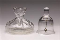 Sale 9098 - Lot 395 - Rune Strand for Sea Glasbruk Glass Sack Vase together with a Dartington Crystal table bell, w 13cm