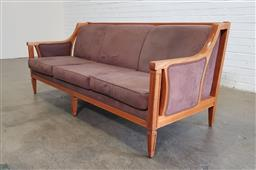 Sale 9166 - Lot 1020 - Timber framed 3 seater settee with brown upholstered seats and back (h:78 x w:177 x d:74cm)