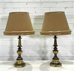 Sale 9166 - Lot 1008 - Pair of 1970s Brass Table Lamps with fabric shades (h71cm) -