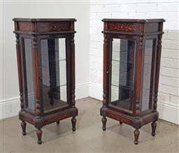 Sale 9215 - Lot 1090 - Pair of French Style Inlaid Pier Display Cabinets or Vitrines, the upper drawers with floral inlay, above a glass panel door & body,...