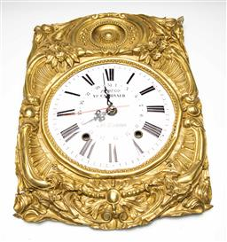 Sale 9209V - Lot 20 - A French gilded and enamelled tin clock - UNTESTED and some losses (47cm x 33cm)