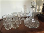 Sale 8098A - Lot 12 - A Cut Crystal Decanter together with five tumblers, two mugs and two flutes