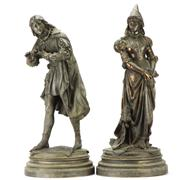Sale 8169 - Lot 99 - Spelter Pair of Figures of a Medieval Lady & Gent