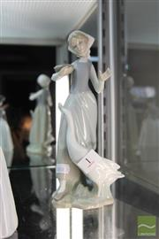 Sale 8217 - Lot 1 - Lladro Figure of a Girl Feeding a Goose