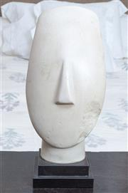 Sale 8800 - Lot 156 - A Musee du Louvre reproduction of a marble Head of an Idol (Cyclades), H 32cm, on stand