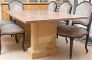Sale 8562A - Lot 96 - A painted travertine effect timber dining table on pedestal bases, H 77 x L 200 x W 110cm