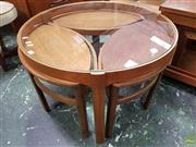 Sale 8566 - Lot 1063 - Nathan Glass Top Coffee Table with Three Stools