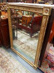 Sale 8693 - Lot 1007 - Cream and Gilt Painted Rectangular Mirror, with scrolling vines, the articulated corners with rosettes