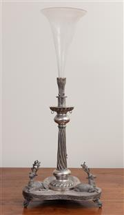 Sale 8868H - Lot 85 - A silver-plated and etched glass epergne with deer kneeling on triform base, Height 52cm