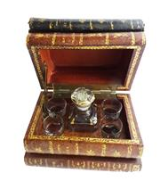 Sale 8888H - Lot 2 - An Art Deco French secret book stack tantalus,1 bottle & 4 glasses, some small wear to edges, 18 x 12 x 14cm