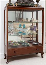 Sale 9070H - Lot 61 - A glass display cabinet with drawer to base, Height 122cm x Width 92cm x Depth 31cm