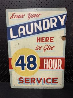 Sale 9188 - Lot 1029 - Early hand painted LAUNDRY SERVICE sign on Masonite (h:67 x w:47cm)