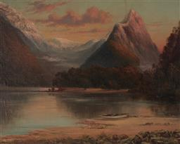 Sale 9125 - Lot 584 - Laurence William Wilson (1850 - 1912) - Mitre Peak Sunest, Milford Sound, New Zealand 59.5 x 74.5 cm (frame: 83 x 98 x 3 cm)