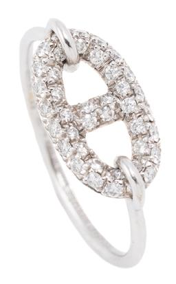 Sale 9160 - Lot 390 - AN HERMES 18CT WHITE GOLD DIAMOND CHAINE D ANCRE RING; anchor link top pave set with 40 round brilliant cut diamonds on full round s...