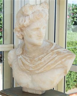 Sale 9165H - Lot 23 - A carved alabaster bust of Apollo (some chips) Height 51cm. Ex Abbotsford house