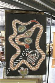 Sale 8168 - Lot 505 - Trent Lenthall (XX) - Rainbow Serpent 133 x 89cm (framed & ready to hang)