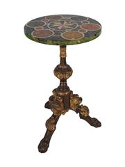 Sale 8379A - Lot 91 - A carved and polychrome lamp table by famous Sydney decorative artist Clive Moore, the top beautifully painted in simulated specimen...