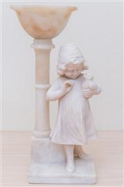 Sale 8430 - Lot 55 - An early C20th small alabaster light formed as a girl holding a chick (missing cover). Height 41cm.