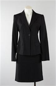 Sale 8740F - Lot 120 - An Emporio Armani virgin wool/rayon blend pinstripe suit blazer and skirt, both size TG. 40