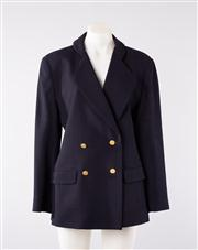 Sale 8740F - Lot 93 - A Carla Zampatti navy blue wool crepe double breasted blazer with decorative Greek coin buttons, size 12