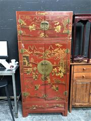 Sale 8854 - Lot 1016 - Red Lacquered Chinese 2 Piece Cabinet