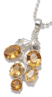 Sale 9095 - Lot 327 - A SILVER STONE SET PENDANT NECKLACE; fashioned as a bunch of grapes set with 4 oval and a round cut citrine, pendant length 55mm, on...