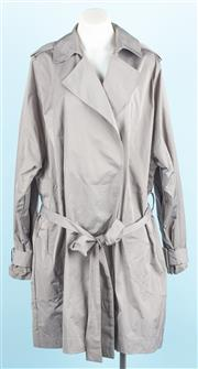 Sale 9083F - Lot 54 - A CAMILA AND MARK ALL WEATHER TRENCH COAT; grey, wrap over style having full length pleat to the back and side slit pockets, 100% po...