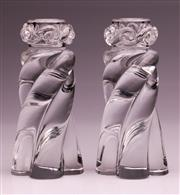 Sale 9081 - Lot 15 - A Pair Of Baccarat Crystal Candleholders (H17cm)