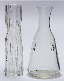 Sale 9099 - Lot 199 - A Finnish textured glass vase together with a carafe, Height 23cm