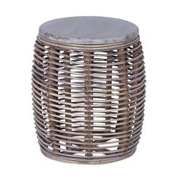 Sale 9250T - Lot 77 - A grey wash drum form side table with solid fruit wood top and wrapped in kubu rattan. Height 47cm x Width 40cm x Depth 40cm