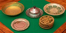Sale 9260M - Lot 28 - A set of 4 brass Chinese themed trivets (Dia 11cm)  together with other metal serving wares