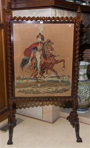 Sale 7981B - Lot 80 - An English Brazilian Rosewood Fire Screen on 4 cabrioles with barley twist turnings enclosing a needlework of a Cavalry Officer on p...