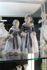 Sale 8217 - Lot 2 - Royal Copenhagen Figure Group of 2 Sisters