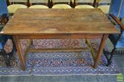Sale 8255 - Lot 1056 - Antique French Oak Farm House Table, with chamfered legs & stretcher base, ex Country Trader