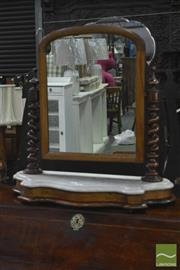 Sale 8345 - Lot 1047 - Victorian Mahogany Toilet Mirror, with barley twist supports & marble top