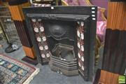 Sale 8418 - Lot 1020 - Iron Fireplace w Tile Decoration