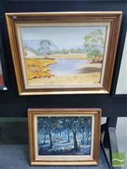Sale 8544 - Lot 2022 - 2 Framed Works: V.Lane Cattle Through the Trees Oil on Board SLL with Waterhole Acrylic on Board, SLL