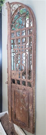 Sale 8568A - Lot 183 - A pair of low arched iron doors, (not including mirror), H 185 x W 90cm