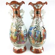 Sale 8607R - Lot 15 - Pair of C19th Kutani Vases (1 Restored) (H: 64cm)