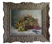 "Sale 8888H - Lot 4 - ""still Life' by  Jules Rozier (French  1821-1882) oil on canvas signed in a carved French frame  38 x 46 cm"