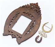 Sale 9080W - Lot 40 - A group of Horseshoe related items including a French photo frame with swallow motif,  a goldtone brooch and a Jubilee (1887) enamel...