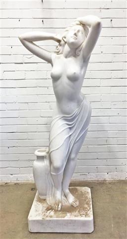Sale 9126 - Lot 1186 - Modern Marble Statue of Venus, scantily clad, with arms raised and an urn beside her (h:178cm)