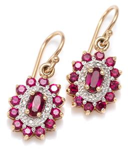 Sale 9156J - Lot 330 - A PAIR OF 9CT GOLD GEM SET CLUSTER EARRINGS; each a 12 x 10mm oval cluster set with synthetic rubies and 4 round cut diamonds on a s...