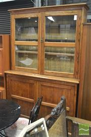 Sale 8317 - Lot 1034 - Early 20th Century Oak Bookcase, with two glass panel doors enclosing fully adjustable shelves (later replacements) & two timber pan...